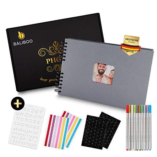 BALIBOO Fotoalbum zum Selbstgestalten (29,5 x 21 cm, 80 Seiten), Hochwertiges Fotobuch mit eleganter Verpackung (Silber)