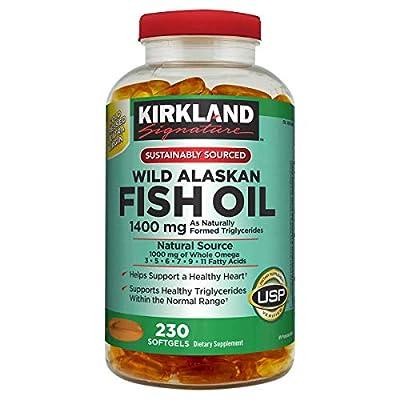 Kirkland Signature Kirkland Signature Wild Alaskan Fish Oil 1400 mg Dietary Supplement (Netcount 230 Soft Gels),, 230Count ()