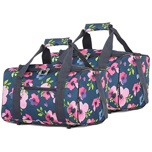 5 Cities 40x20x25 new and improved 2020 Ryanair Maximum Sized Under Seat Cabin Holdall Travel Flight Bag – Take the Max on Board! (Set of 2 Navy Floral)