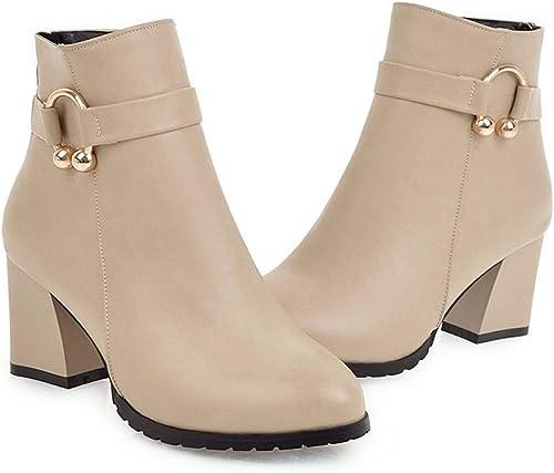 HBDLH Chaussures pour Femmes Court Court Les Bottes d'hiver des des Bottes des Bottes à Talons Haut Talon Court Simple Les Bottes 7Cm  livraison rapide
