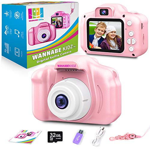 Wannabe Kidz Kids Camera for Girls Pink Selfie Camera Upgraded 8X Zoom Digital Cameras 18MP Photo 1080 Video; Best Birthday Gift for Little Children and Toddlers Age 3 4 5 6 7 8 Years Old