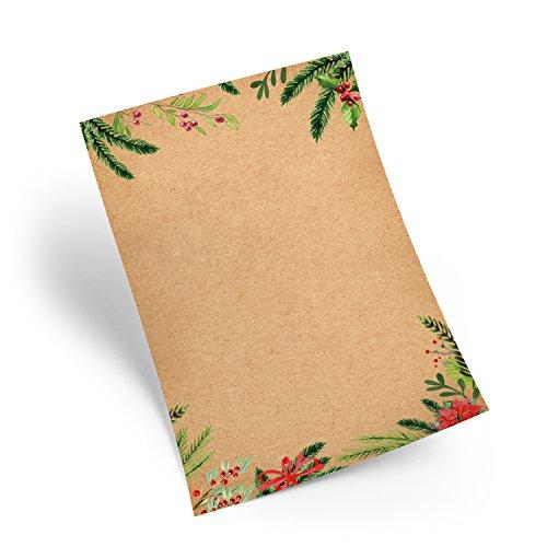 100 Blatt Weihnachtspapier natur rot grün Briefpapier DIN A4 Weihnachten Briefbogen Weihnachtsbriefpapier VINTAGE Nostalgie Papier weihnachtlich für Weihnachtsbriefe Kunden