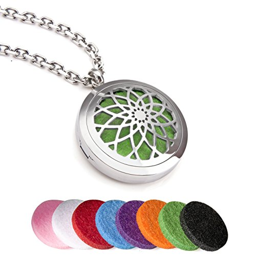 EVERLEAD Essential Oils Diffuser Stainless Steel Carving Magnetic Locket Aromatherapy Pendant Necklace