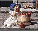 Pintura al óleo de bricolaje La niña que come una manzana Pintura por números Para lienzo niños adultos decoración set de regalo pintura acrílica 40x50cm (sin marco)