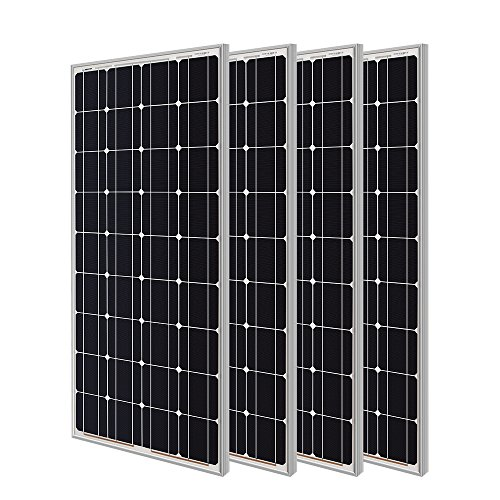 Renogy 4 Pieces 100W Monocrystalline Photovoltaic PV Solar Panel Module, 12V Battery Charging