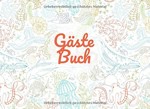Gästebuch: Ferienhaus Gästebuch I Besucherbuch I Ferienwohnung I Meerestiere