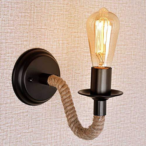 Mengjay Vintage Lampara de pared Retro Industrial Metal Tubo grande cuerda lámpara de pared Loft restaurante Pasillo Salón Balcón Aplique(No Bombilla)