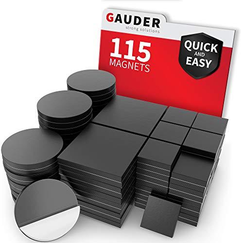 GAUDER Plaques magnétiques autocollantes   Aimant plat rond puissant   Points et carrés magnétiques pour photos, cartes postales et panneaux