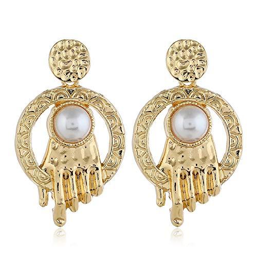 Personalized Hand Earrings Pearl Decorative Earrings Fun Unique Stud Earrings, Ear Stud Jewelry for Women or Girls