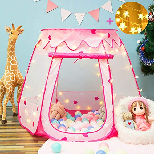 Crayline Pop Up Princess Tent with Star Light, Toys for 1 Year Old Girl Birthday Gift, Ball Pit for Toddlers Girls Toys, Easy to Pop Up and Assemble