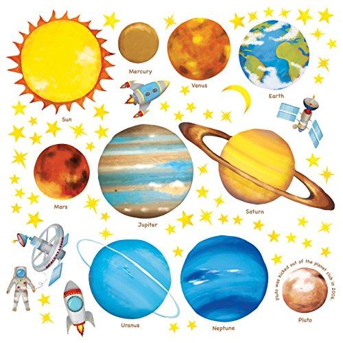 DECOWALL DS-8007 Planetas en el Espacio (English Ver.) (Pequeña) Vinilo Pegatinas Decorativas Adhesiva Pared Dormitorio Saln Guardera Habitaci Infantiles Nios Bebs