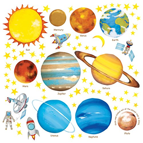 DECOWALL DS-8007 Pianeti nello Spazio (Ver. Inglese) (Piccolo) Adesivi da Parete Decorazioni Stickers Murali Soggiorno Asilo Nido Camera Letto per Bambini decalcomanie