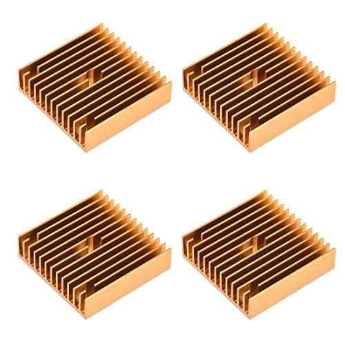 uxcell Heatsink with Hole for Stepper Motor,3D Printer 40x40x11mm Golden 4pcs