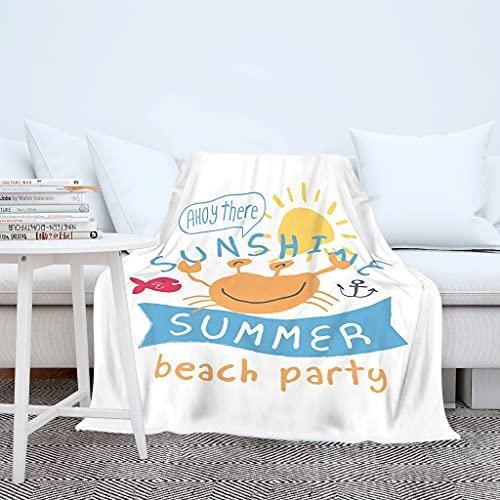 Sonnenschein - Manta de verano para fiestas, diseño de cangrejo en 3D, cómoda manta con capucha, para niños y adultos, color blanco, 150 x 200 cm