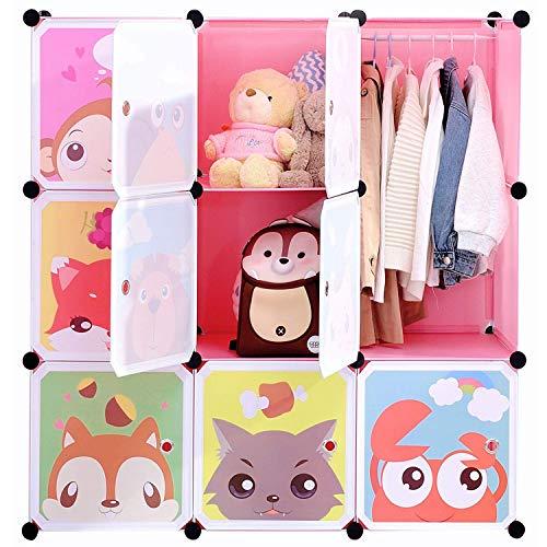 BRIAN & DANY Erweiterbares Kinderregal Kinder Kleiderschrank Stufenregal Bücherregal mit Türen, tiefere Fächer als normal (45 cm vs. 35 cm), 110 x 47 x 110 cm Rosa