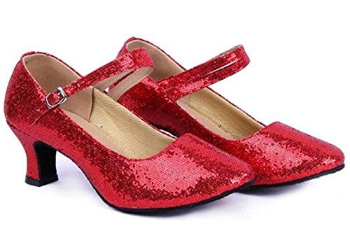 Dayiss® Mädchen Damen Pailletten Standard Tanzschuhe Ballsaal Latein Tango mit (35, Rot) - 3