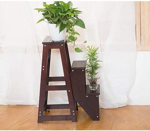 XHCfold H erner 3 Schritt-Schemel, Haushalts-Treppen-Stuhl-Stufensitz-faltende Leiter verbreiterte Multifunktions-Regal doppelt verwendbarer hoher Hocker, für Hausgarten (Farbe   Nussbaum)