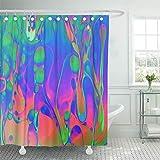 Cortina de ducha decorativa Verde iridiscente Psicodélico Resumen Formado por pompas de jabón Reflectante Azul claro Líquido Hippie Aceite Impermeable Resistente al moho Juego de ganchos para baño Cor