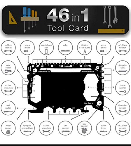 Multi Tool Card Size with Case Gadget Wallet Set - 46 in 1 Pocket kit | Outdoor Camping Multitool Accessoires | RVS | Perfect cadeau voor mannen