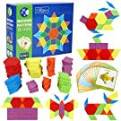 Lewo Wooden Pattern Blocks Classic Educational Toys with 130 Geometric Shape Pieces and 24 Designs