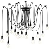 Vintage Lustres Araignée Luminaire Suspendu E27 Industriel Spider Lampe Ajustable Longueur 14 Bras pour Salon Chambre Restaurant Café Bar