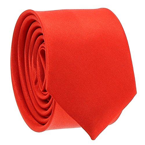Cravate Fine Rouge - Cravate Homme Coupe Slim Moderne - 5cm à la Pointe - Couleur Unie - Accessoire Chemise pour Mariage, Cérémonie