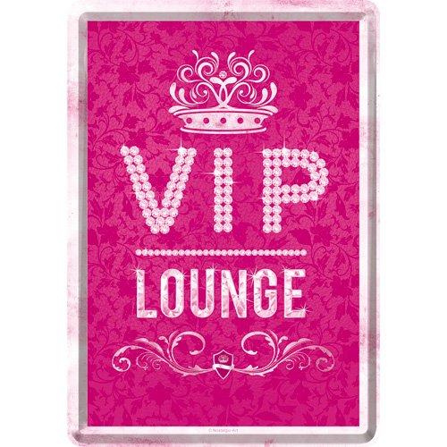 Nostalgic-Art 10265 Attentie - VIP Pink Lounge, metalen ansichtkaart 10x14 cm