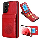 WESADN Compatible with Galaxy S21 Plus 6.7-Inch 5G Leather Wallet Case Card Holder Kickstand Function Slim Protective Shockproof Credit Card Slot Cover for Women for Galaxy S21 Plus, Red