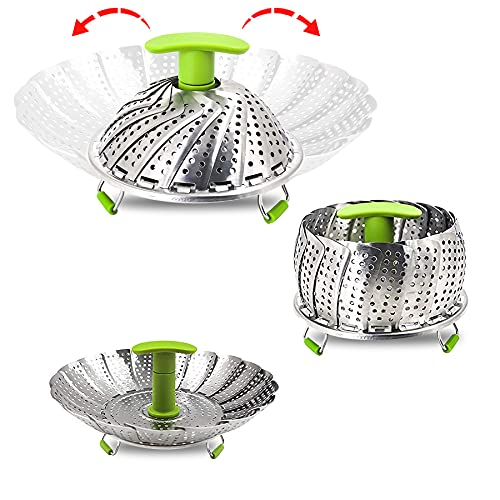 Stainless Steel Vegetable Steamer Basket for Cooking, Food Steamer Basket with Removable Center Handle for Veggie Seafood Cooking, mobzio Folding Expandable Steamer Basket Fit Various Size Pot