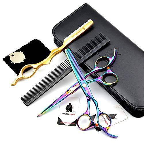 Ciseaux Coiffure Combinaison Set Super Sharp Professionnel Ciseaux de coiffeur Outil Salon Mince Trousse 6.0 Pouce Parfait pour les femmes et les hommes (COLORÉ)