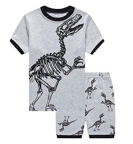 YoungSoul Pijamas Dos Piezas para Niño - Pijamas de Dinosaurios Manga Corta - Conjunto de Pijama Infantil de Verano