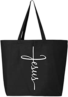 Shop4Ever Jesus Cross Jumbo Heavy Canvas Tote Reusable Shopping Bag 10 oz Black 1 Pack