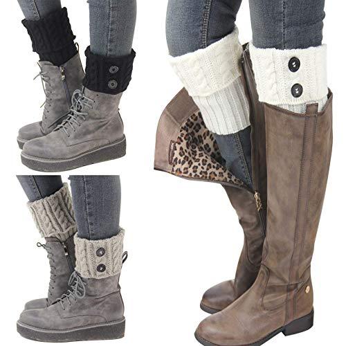 Bestjybt 3 Pairs Womens Short Boots Socks Crochet Knitted Boot Cuffs Leg Warmers Socks(Multicolored Y)