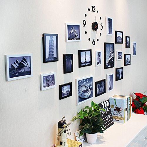 Fotolijst*Retro Foto aan de muur 19 Box met acryl wandklok, foto, zwart-wit combinatie + wandklok