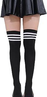ZUMUii Butterme Mujer Chica sobre La Rodilla Extra Largo Fútbol Rugby Calcetines Muslo Alta Medias Deportivas Medias con Triples Triples Rayas(Negro+Blanco)