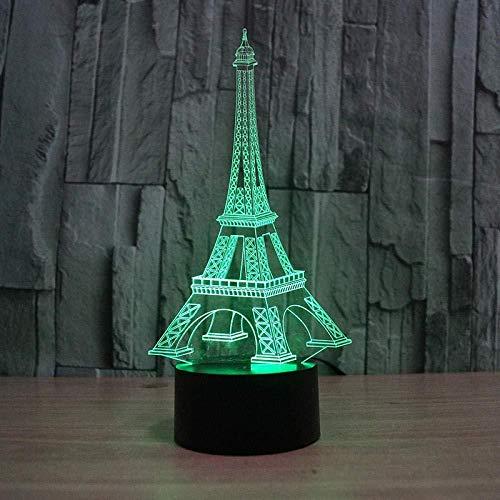 Luces de noche LED Torre Eiffel7 Cambio de color Bebé Niños Juguetes de cabecera Regalos Luz de la habitación Decoración de acrílico para el hogar Niños-7 color touch