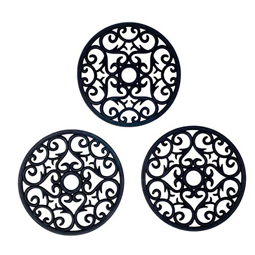 Makerstep Silicone Trivet Mat 3 Set in Heart Design Trivets. Hot Pan Holder, For Counter & Table. Non Slip Protection from Hot Pots and Pans, Serving Dish. Dishwasher Safe, Heat Resistant, Black