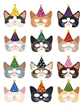 Cat Party Supplies Decorations, Since1989 12 Pcs Cat Masks Kitten Masks for Cat Themed Birthday Party Supplies Decorations, Cat Theme Party Dress-Up Customes for Kids