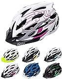 meteor Cascos Casco Bicicleta Casco Helmet Casco Bici Casco Bicicleta Adulto Skate Ciclismo Bicicleta Patineta Patines Monopatines Bici Accesorios Casco Gruver (S (52-56 cm), Blanco/Negro/Violeta)