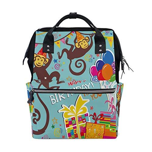 Happy Birthday Gift Monkey Animal Multi-Function Diaper Bags Backpack Travel Bag