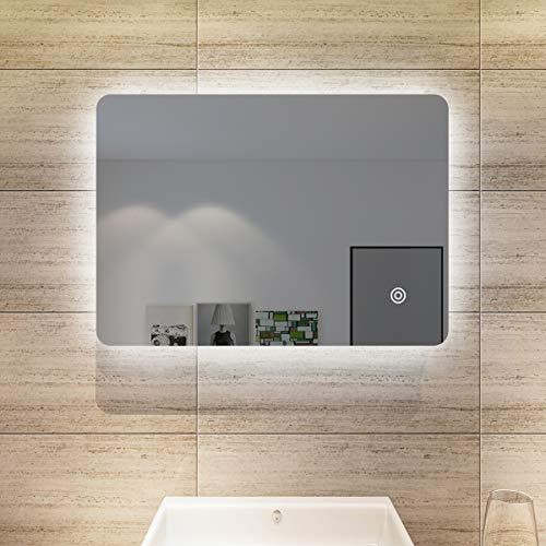 SONNI Espejo de baño de 50 x 70 cm, con iluminación LED, espejo de baño con interruptor táctil, espejo de pared IP44, bajo consumo, luz blanca fría
