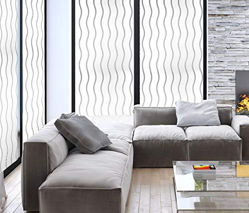 YSHUO Fensteraufkleber LangwelligesMuster Opake, Mattierte, Dekorative Fensterfolie Vinyl, Statisch Haftend Selbstklebendes Sichtschutzglas
