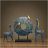 彫刻、彫像樹脂鹿の装飾オフィス装飾彫刻[手彫り]デスクコレクション家の装飾15.8インチ