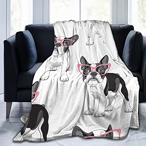 Cartoon French Bulldog in Pink Glasses Fleece Blankets and Throws,Soft Warm Fleece Throw Blanket for Adults & Kids,Queen Size Blanket for Bedroom Office Travel Couch Sofa 50'X40'