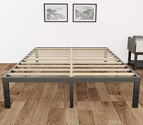 3800lbs Heavy Duty,14 Inch Steel & Wooden Slat Support Reinforced Platform Bed Frame,Mattress Foundation/No Box Spring Needed/Easy Assembly/Noise Free,Twin/Twin XL/Full/Queen/California King (King)