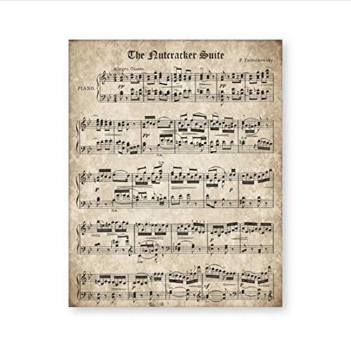 Muzimuzili Vintage Schiaccianoci spartiti Musicali Poster Musica Classica per Pianoforte Pittura su Tela Stampa Immagine della Parete per la Decorazione Domestica- 40x60cm Senza Cornice