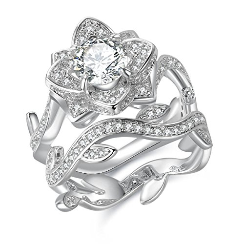 Newshe Flower Wedding Rings for Women Engagement Ring 925 Sterling Silver Round White Cz Size 6