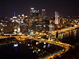 Gifts Delight Laminated 32x24 Poster: Pittsburg Skyline at Night View of The City and The Monongahela River from The Duquesne Incline