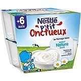 Nestlé Bébé P'tit Onctueux au Fromage Blanc Saveur Nature Sucré - 8 x 100g - Dès 6 mois