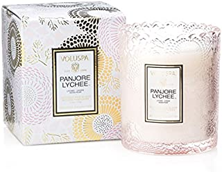 Voluspa Panjore Lychee Scalloped Edge Boxed Glass Candle, 6.2 Ounces